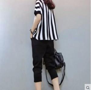 パンツ 夏物 ツーピース ストライプ 大きいサイズ レディース 女性 「ウエストゴム サイズM56cm-80cm L60cm-90cm XL65cm-100cm」