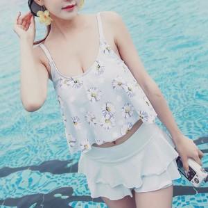 水着 夏 ビキニ 花柄 フリル 海 プール セクシー ビーチ 大きいサイズ レディース 女性 オレンジ ブルー