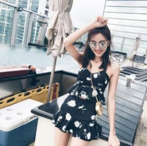 水着 夏 ワンピース 花柄 シック 海 プール セクシー  大きいサイズ レディース 女性 ブラック 黒