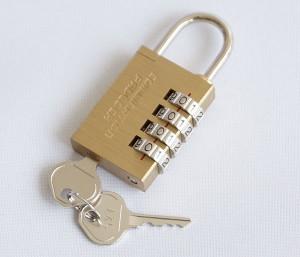 緊急開錠キー付4ダイヤル式南京錠コンビネーションパドロックEK N-2416 ノムラテック