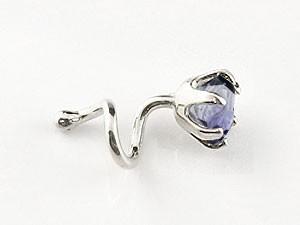 ピアス メンズ キャッチのいらないピアス アイオライト プラチナピアス シンプル キャッチナッシャー 宝石