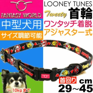 送料無料 トゥイーティー 中型犬用 首輪 黒 幅15mm 首回り2945cm Fa340