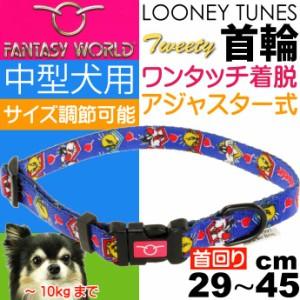 送料無料 トゥイーティー 中型犬用 首輪 青 幅15mm 首回り2945cm Fa339