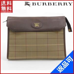 バーバリー バッグ BURBERRY セカンドバッグ ブラウン×カーキ 即納 【中古】 X11073