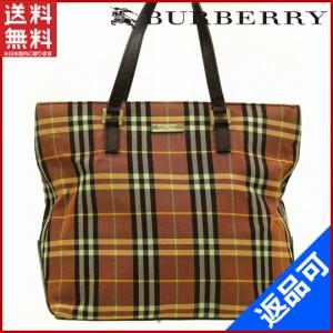バーバリー バッグ BURBERRY ハンドバッグ 赤茶色 即納 【中古】 X13238