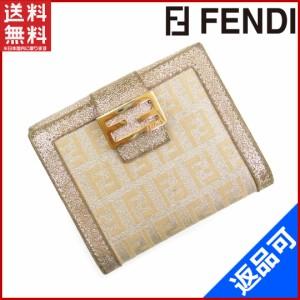 フェンディ 財布 FENDI 二つ折り財布 Wホック財布 シルバー 即納 【中古】 X16011