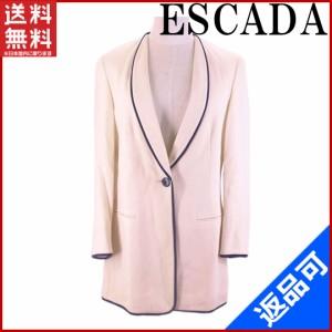 エスカーダ トップス ESCADA ジャケット パイピング テーラー クリーム×ネイビー (良品・即納) 【中古】 X3898A