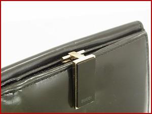 グッチ 財布 GUCCI 二つ折り財布 Wホック財布 ブラック 人気 即納 【中古】 X8732