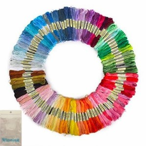 Winning 刺しゅう糸 まとめ買い オリジナルセット 98色 100束 6本綴 600本 糸巻き板付き