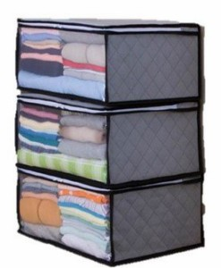 AG 活性炭 衣類収納袋 3個セット 収納ケース 竹炭の力で 防虫 防カビ 折り畳みタイプ (グレー)