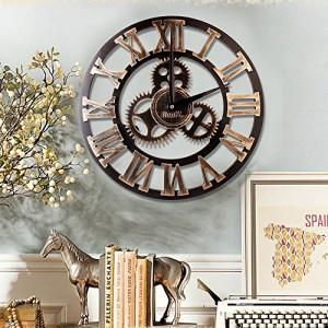 ロフト スタイル 欧米風 壁掛け時計 木製 ギアの型 アンティーク 丸い 静音 飾り サイドオープン 防湿防虫