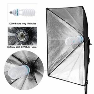"""CRAPHY 125W 5500K写真スタジオビデオライト照明キット(20 x 28 """"ソフトボックス + 3 つ バックドロップ(ホワイト・ブラック・グリー"""