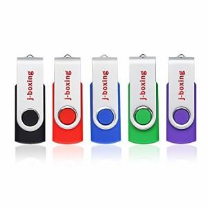 J-boxing USBメモリ 8GB USBフラッシュドライブ 回転式 カラー 5個セット(赤、緑、黒、青、紫) (8GB)