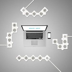 Joly JoyR 電源タップ 2ポートUSB充電付 ACアダプタ3個口 テーブルタップ コンセント 雷サージ 回転 携帯便利 フインテリア デザイン フ