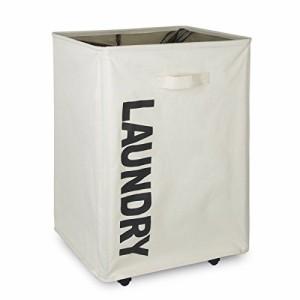 Chrislley ランドリーバスケット ランドリーボックス スリムタイプ 洗濯かご メッシュ キャスター付き 防水コーティングラミーコットン