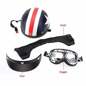 KKmoon バイクヘルメット ハーフオープンフェイス ゴーグル+バイザー+耳あて付き