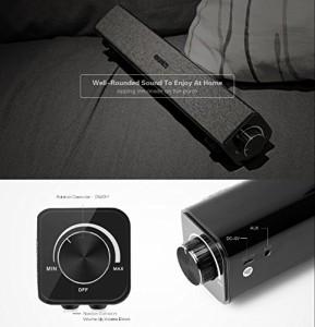 QQPOW Bluetooth スピーカー 簡潔 サウンドバーホームシアター 20W出 デュアル10Wドライバ ディープバス AUX-IN 音楽再生 4400mAh バッテ