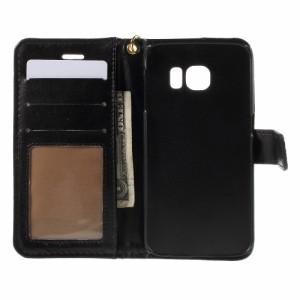 Galaxy S6 edge レザーケース ブラック 液晶保護フィルム付き ギャラクシーS6エッジ Galaxy S6 edge ケース 手帳 Galaxy S6 edge ケース