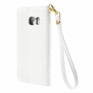 Galaxy S6 edge レザーケース ホワイト 液晶保護フィルム付き ギャラクシーS6エッジ Galaxy S6 edge ケース 手帳 Galaxy S6 edge ケース