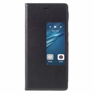Huawei P9 レザーケース ブラック 強化ガラス保護フィルム付き ファーウェイ P9 Huawei P9 ケース 手帳 Huawei P9 ケース 財布