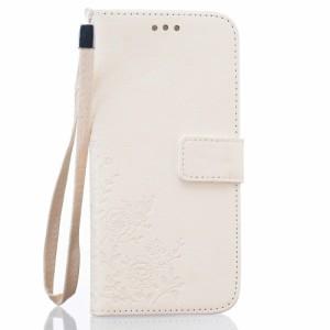 Galaxy S7 edge レザーケース ホワイト 液晶保護フィルム付き スマホケース  ギャラクシーS7エッジ Galaxy S7 edge ケース 手帳 Galaxy S