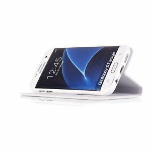 Galaxy S7 edge レザーケース パープル 液晶保護フィルム付き スマホケース  ギャラクシーS7エッジ Galaxy S7 edge ケース 手帳 Galaxy S