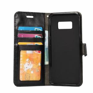 Galaxy S8 レザーケース ブラック 液晶保護フィルム付き スマホケース  ギャラクシーS8 カバー 手帳型スタンド機能 ICカードスロット 札