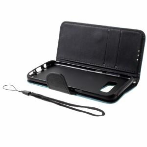 Galaxy S8 レザーケース ベイビーブルー 液晶保護フィルム付き ギャラクシーS8 カバー 手帳型スタンド機能 ICカードスロット 札入れ