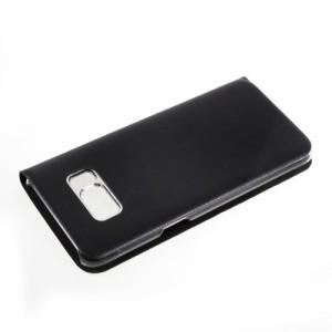 Galaxy S8 レザーケース ブラック 液晶保護フィルム付き ギャラクシーS8 カバー 手帳型ウィンドウ
