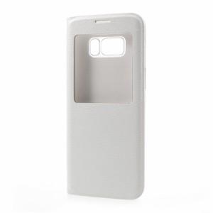 Galaxy S8 Plus レザーケース ホワイト 液晶保護フィルム付き ギャラクシーS8 プラス カバー 手帳型ウィンドウ
