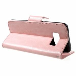 Galaxy S8 レザーケース ピンク 液晶保護フィルム付き スマホケース  ギャラクシーS8 カバー 手帳型スタンド機能 ICカードスロット 札入
