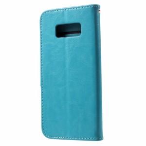 Galaxy S8 レザーケース ブルー 液晶保護フィルム付き スマホケース  ギャラクシーS8 カバー 手帳型スタンド機能 ICカードスロット 札入