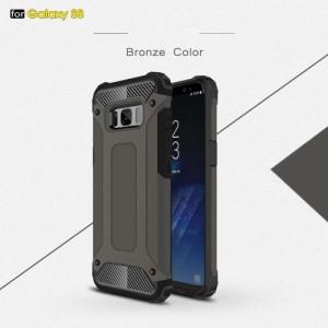 Galaxy S8 ハードケース ブロンズ 液晶保護フィルム付き スマホケース  ギャラクシーS8 背面型耐衝撃 超薄軽量型
