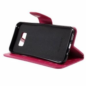 Galaxy S8 Plus レザーケース ローズ 液晶保護フィルム付き ギャラクシーS8 プラス カバー 手帳型スタンド機能 ICカードスロット 札入れ