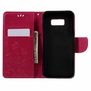Galaxy S8 Plus レザーケース ローズ 液晶保護フィルム付き スマホケース  ギャラクシーS8 プラス カバー 手帳型スタンド機能 ICカードス