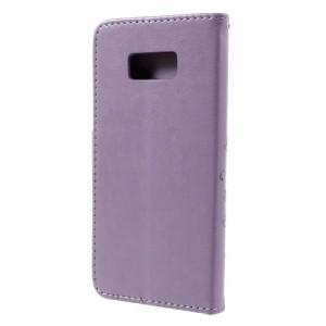 Galaxy S8 Plus レザーケース ライトパープル 液晶保護フィルム付き ギャラクシーS8 プラス カバー 手帳型スタンド機能 ICカードスロット