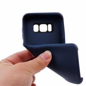 Galaxy S8 ハードケース ダークブルー 液晶保護フィルム付き ギャラクシーS8 背面型耐衝撃 超薄軽量型