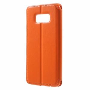 Galaxy S8 レザーケース オレンジ 液晶保護フィルム付き ギャラクシーS8 カバー 手帳型スタンド機能 ICカードスロット
