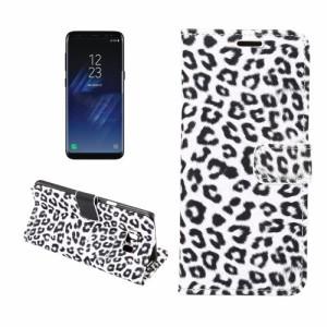 Galaxy S8 Plus レザーケース ホワイト 液晶保護フィルム付き ギャラクシーS8 プラス カバー 手帳型スタンド機能 ICカードスロット
