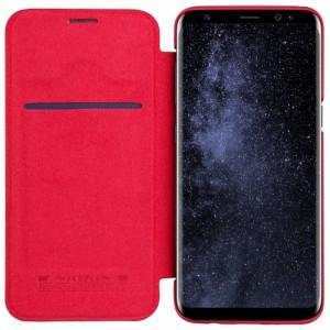 Galaxy S8 Plus レザーケース レッド 液晶保護フィルム付き スマホケース  ギャラクシーS8 プラス カバー 手帳型 ICカードスロット