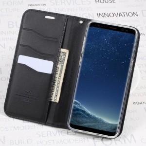 Galaxy S8 Plus レザーケース ブラック 液晶保護フィルム付き スマホケース  ギャラクシーS8 プラス カバー 手帳型スタンド機能 ICカード
