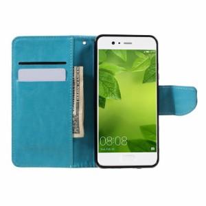 Huawei P10 レザーケース ブルー 強化ガラス保護フィルム付き スマホケース  ファーウェイ P10 カバー 手帳型スタンド機能 ICカードスロ