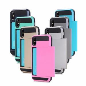 iPhone X ハードケース ブラック 強化ガラス保護フィルム付き アイフォン X 背面型ICカードスロット