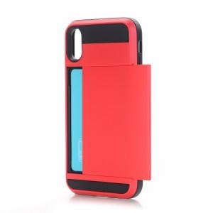iPhone X ハードケース レッド 強化ガラス保護フィルム付き スマホケース  アイフォン X 背面型ICカードスロット