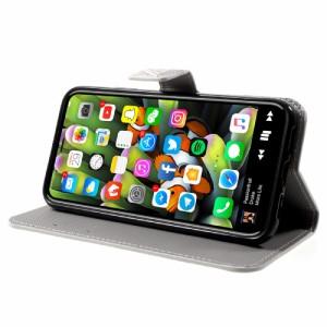 iPhone X レザーケース E 強化ガラス保護フィルム付き スマホケース  アイフォン X カバー 手帳型スタンド機能 ICカードスロット 札入れ