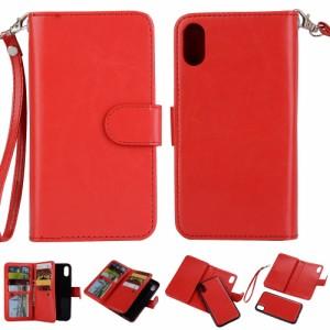 iPhone X レザーケース レッド 強化ガラス保護フィルム付き アイフォン X カバー 手帳型ICカードスロット 札入れ
