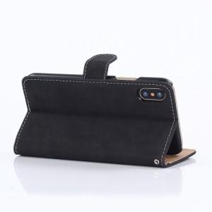 iPhone X レザーケース ワインレッド 強化ガラス保護フィルム付き アイフォン X カバー 手帳型スタンド機能 ICカードスロット 札入れ