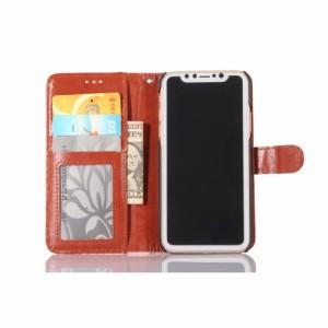 iPhone X レザーケース ブラック 強化ガラス保護フィルム付き スマホケース  アイフォン X カバー 手帳型 スタンド機能 ICカードスロット