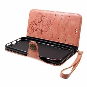 iPhone X レザーケース ピンク 強化ガラス保護フィルム付き スマホケース  アイフォン X カバー 手帳型 スタンド機能 ICカードスロット