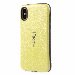 iPhone X ハードケース イエロー 強化ガラス保護フィルム付き スマホケース  アイフォン X 背面型 超薄軽量